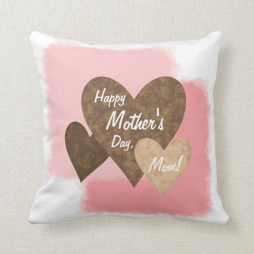 Happy Mother's Day Three Hearts Brown Throw Pillow