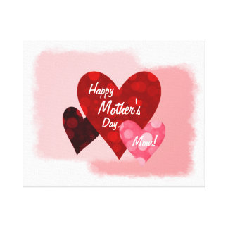 Happy Mother's Day Three Hearts Circles 1 Canvas Print