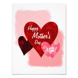Happy Mother's Day Three Hearts Circles 1 Photo Print