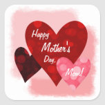 Happy Mother's Day Three Hearts Circles 1 Stickers