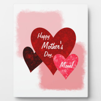 Happy Mother's Day Three Hearts Circles 2 Plaque
