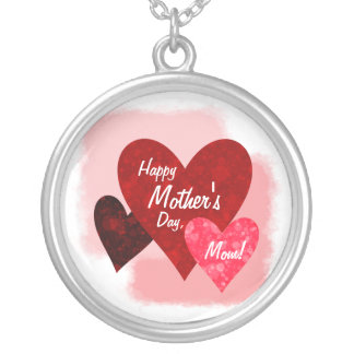 Happy Mother's Day Three Hearts Circles 2 Silver Plated Necklace