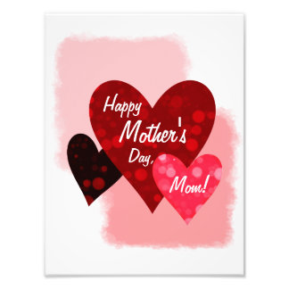 Happy Mother's Day Three Hearts Circles 3 Photo Print