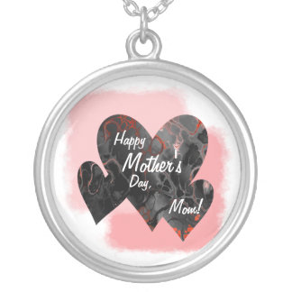 Happy Mother's Day Three Hearts Crazy 2 Silver Plated Necklace