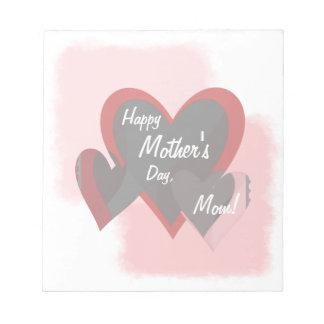 Happy Mother's Day Three Hearts Crazy Notepad