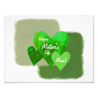 Happy Mother's Day Three Hearts Green Photographic Print