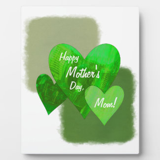 Happy Mother's Day Three Hearts Green Plaque