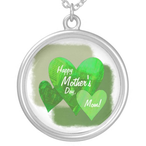 Happy Mother's Day Three Hearts Green Round Pendant Necklace