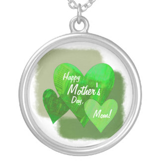 Happy Mother's Day Three Hearts Green Silver Plated Necklace