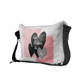 Happy Mother's Day Three Hearts Noir Messenger Bag
