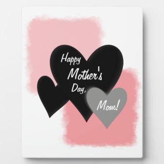Happy Mother's Day Three Hearts Noir Plaque