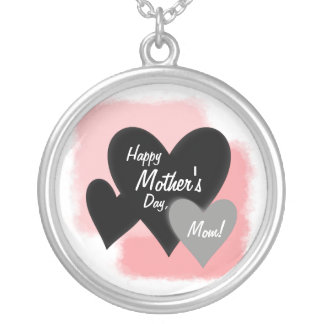 Happy Mother's Day Three Hearts Noir Silver Plated Necklace