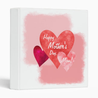 Happy Mother's Day Three Hearts Painterly 3 Ring Binder