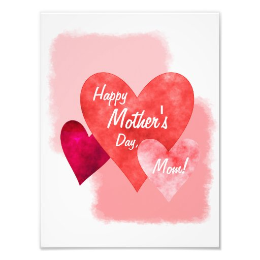 Happy Mother's Day Three Hearts Painterly Photographic Print