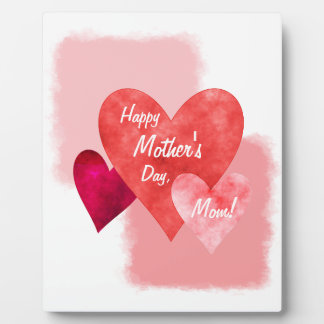 Happy Mother's Day Three Hearts Painterly Plaque