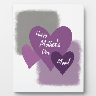 Happy Mother's Day Three Hearts Purple Plaque