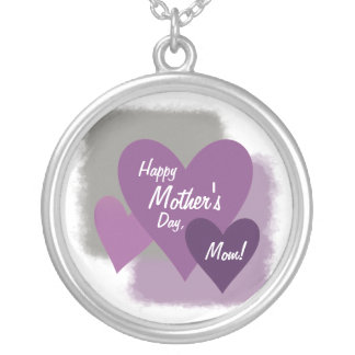 Happy Mother's Day Three Hearts Purple Silver Plated Necklace