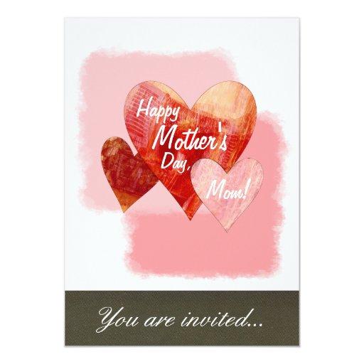"Happy Mother's Day Three Hearts Textured 5"" X 7"" Invitation Card"
