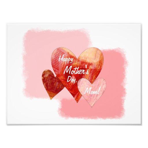 Happy Mother's Day Three Hearts Textured Photo