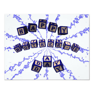 Happy Mother's Day toy blocks in blue. Card