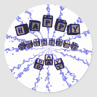 Happy Mother's Day toy blocks in blue. Classic Round Sticker