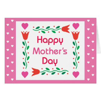 Happy Mothers Day - Tulips with colorful hearts an Cards