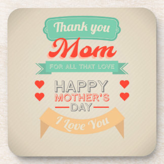 Happy Mother's day typography design Drink Coasters