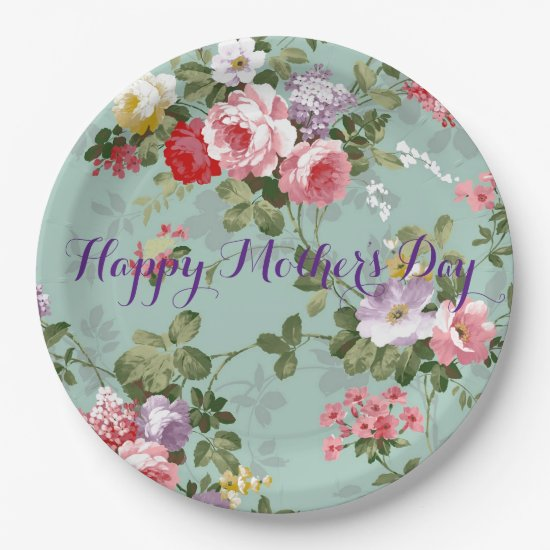 Happy Mother's Day - Vintage Floral Paper Plate