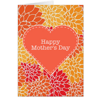 Happy Mother's Day vintage red and orange floral Card