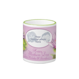 "Happy Mothers Day water lily ""own photo"" mug"