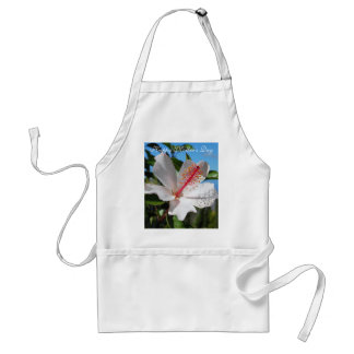 Happy Mother's Day White Hibiscus Apron