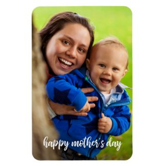 Happy Mother's Day White Script Photo Template Magnet