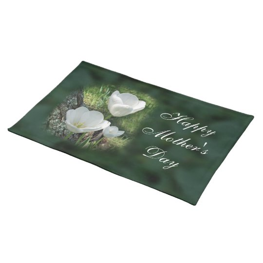 Happy Mother's Day White Tulips Cloth Placemat