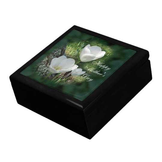 Happy Mother's Day White Tulips Jewelry Box