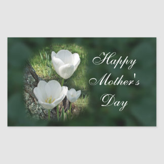 Happy Mother's Day White Tulips Rectangular Sticker