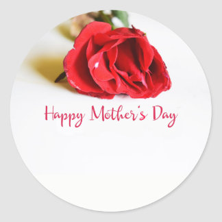 Happy Mother's Day with a Single Red Rose Classic Round Sticker