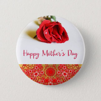Happy Mother's Day with a Single Red Rose Pinback Button