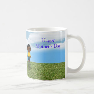 Happy Mother's Day with African American boy Classic White Coffee Mug