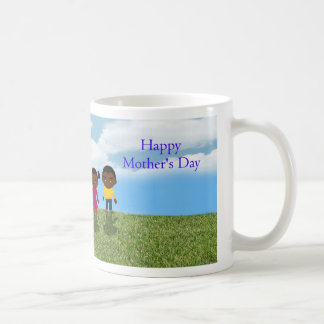 Happy Mother's Day with African American children Classic White Coffee Mug