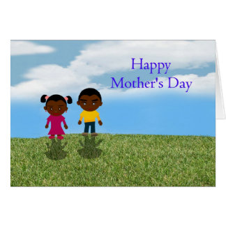 Happy Mother's Day with African American children Greeting Card