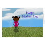 Happy Mother's Day with African American Girl Greeting Cards