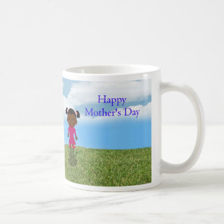 Happy Mother's Day with African American Girl Classic White Coffee Mug