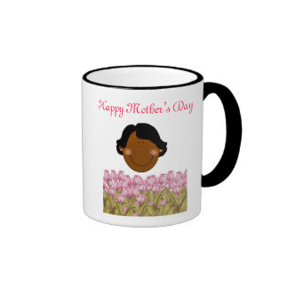 Happy Mother's Day with African American Mom Ringer Coffee Mug