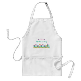 Happy-Mothers-Day with Flowers Unique Adult Apron