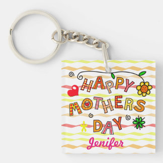 Happy mothers day with heart and flower Double-Sided square acrylic keychain