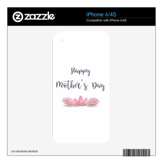 Happy-Mothers-Day-with-pink-Flowers Decal For The iPhone 4