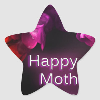 Happy Mother's Day with Red flowers Star Sticker