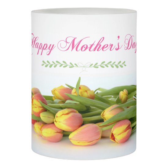 Happy Mother's Day with Yellow and Orange Tulips Flameless Candle