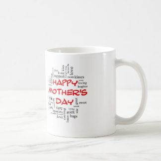 Happy Mother's Day Word Cloud Mug in Red Letters