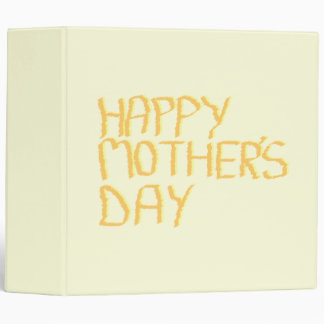 Happy Mothers Day. Yellow. 3 Ring Binder